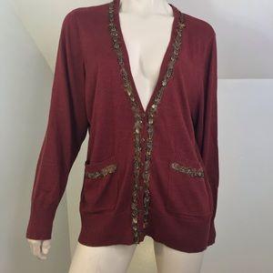 Calvin Klein Plus 2X Cardigan Sweater Feather Trim
